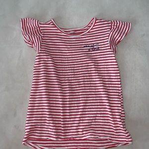 Carter's Striped Ruffle Cap Sleeve Tank Tee Shirt